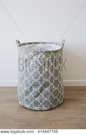 Gray Fabric Storage Basket, For Linen, Toys, Vertical Photo