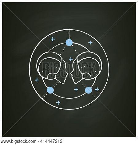 Gemini Chalk Icon. Third Fire Sign In Zodiac. Horoscope Twins. Mystic Horoscope Sign. Astrological S