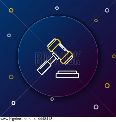 Line Judge Gavel Icon Isolated On Blue Background. Gavel For Adjudication Of Sentences And Bills, Co
