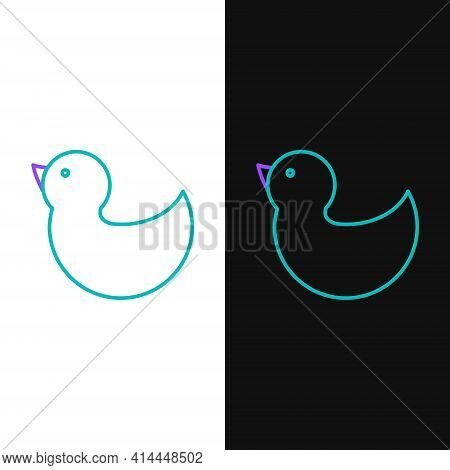 Line Rubber Duck Icon Isolated On White And Black Background. Colorful Outline Concept. Vector