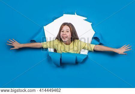 Happy Tween Girl On Blue Background, Happy Childhood