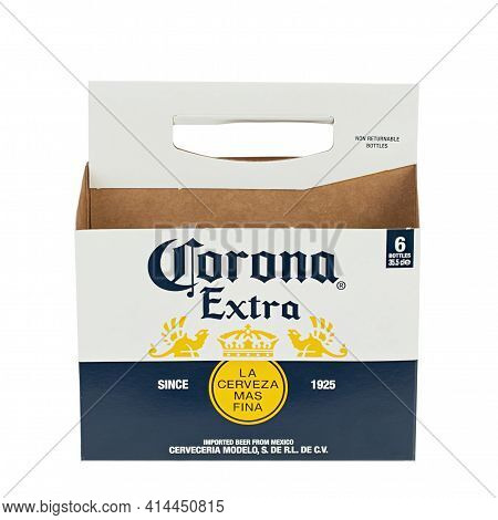 Ukraine, Kyiv - February 23. 2021: Empty Paper Packaging Of Corona Extra Beer Isolated On White Back