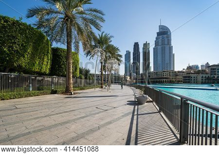 Dubai, United Arab Emirates - 09 December, 2018: Panoramic View With Modern Skyscrapers In The Centr