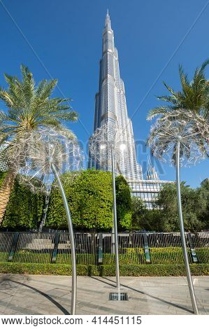Dubai, United Arab Emirates - 09 December, 2018: View Of Burj Khalifa In The Center Of Dubai, United