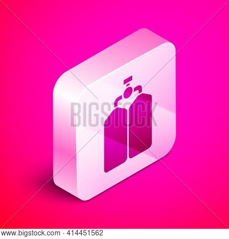Isometric Aqualung Icon Isolated On Pink Background. Oxygen Tank For Diver. Diving Equipment. Extrem