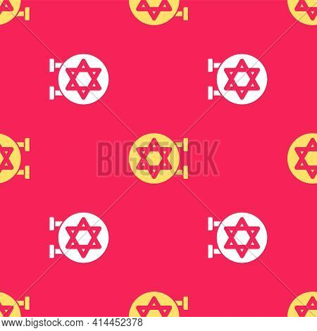Yellow Jewish Synagogue Building Or Jewish Temple Icon Isolated Seamless Pattern On Red Background.