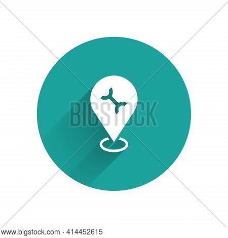 White Car Service Icon Isolated With Long Shadow. Auto Mechanic Service. Repair Service Auto Mechani