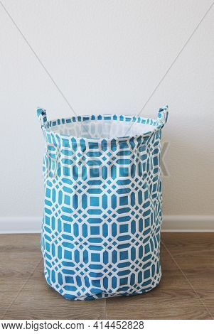 Blue Fabric Storage Basket, For Linen, Toys, Vertical Photo