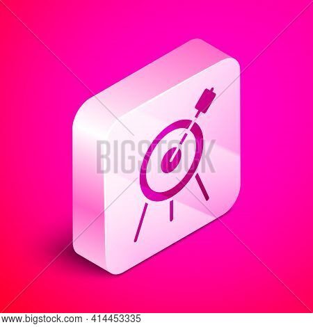 Isometric Target Sport Icon Isolated On Pink Background. Clean Target With Numbers For Shooting Rang