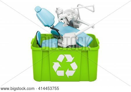 Recycling Trashcan With Dental Chair Unit, 3d Rendering