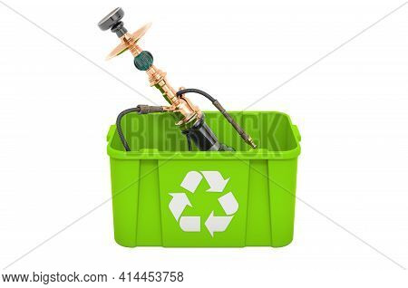Recycling Trashcan With Hookah, 3d Rendering Isolated On White Background