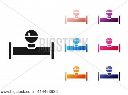 Black Industry Metallic Pipe And Manometer Icon Isolated On White Background. Set Icons Colorful. Ve