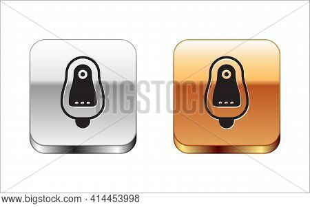 Black Toilet Urinal Or Pissoir Icon Isolated On White Background. Urinal In Male Toilet. Washroom, L