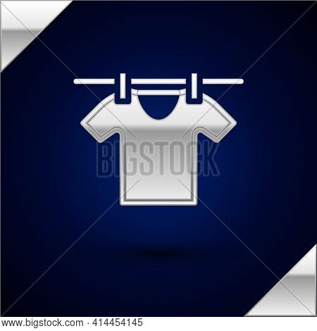 Silver Drying Clothes Icon Isolated On Dark Blue Background. Clean Shirt. Wash Clothes On A Rope Wit