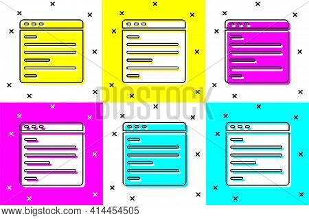 Set Computer Api Interface Icon Isolated On Color Background. Application Programming Interface Api
