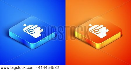Isometric Smart Glasses Mounted On Spectacles Icon Isolated On Blue And Orange Background. Wearable
