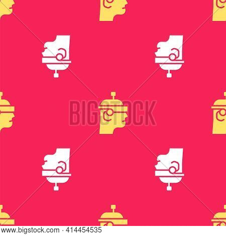 Yellow Smart Glasses Mounted On Spectacles Icon Isolated Seamless Pattern On Red Background. Wearabl