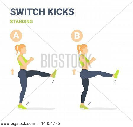 Switch Kicks Girl Home Workout Exercise Guidance. Athletic Female Doing Kicks Switching Legs Routine