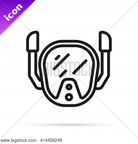 Black Line Diving Mask Icon Isolated On White Background. Extreme Sport. Diving Underwater Equipment