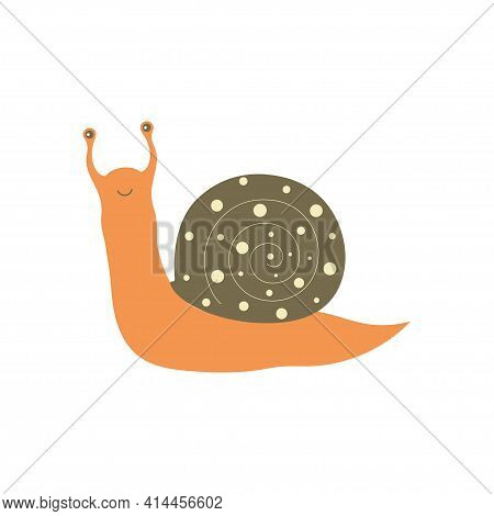 Cute And Colorful Land Snail, Vector Illustration Isolated On White Background, Cartoon Snail With S