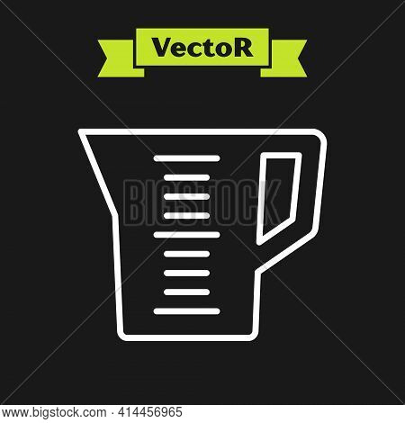 White Line Measuring Cup To Measure Dry And Liquid Food Icon Isolated On Black Background. Plastic G