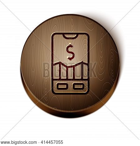 Brown Line Mobile Stock Trading Concept Icon Isolated On White Background. Online Trading, Stock Mar