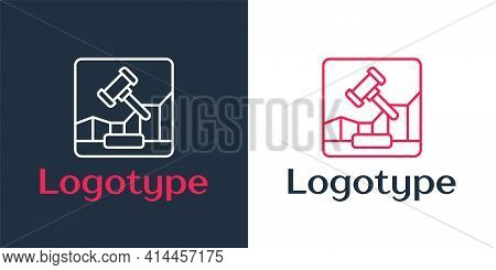 Logotype Line Online Internet Auction Icon Isolated On White Background. International Trade Concept