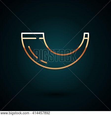 Gold Line Traditional Ram Horn, Shofar Icon Isolated On Dark Blue Background. Rosh Hashanah, Jewish