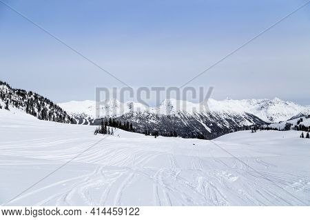 Snow Capped Mountains, Blackcomb And Whistler Ski Resort In British Columbia, Canada.