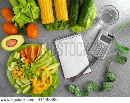 Healthy Diet Eating Plan. Meal Planning Top View. Flat Lay Calories Counting, Diet, Food Control And