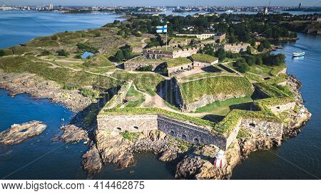 Aerial View Of The Famous Helsinki Suomenlinna Fortress From The Ocean