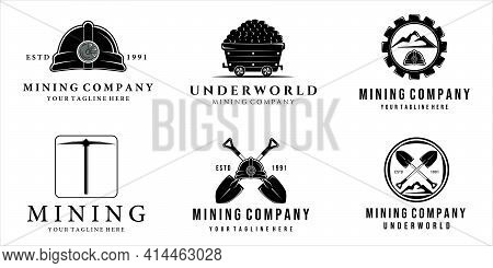 Set Of Mining Logo Vector Vintage Illustration Template Design . Mining Cart Helmet Shovel Trowel Pi