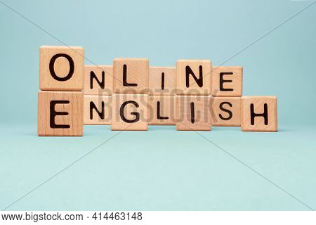 Word Online English Letters Blocks Toy Cubes. Speak English Online Course Icon Wooden Blocks Concept
