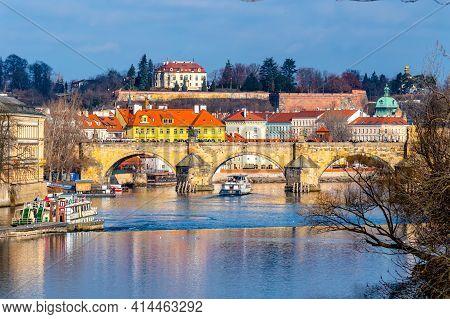 Vltava River, Charles Bridge And Kramar Villa, Czech: Kramarova Vila, Official Residence Of The Prim