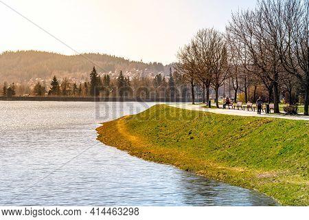 Spring At Mseno Reservoir In Jablonec Nad Nisou, Czech Republic.
