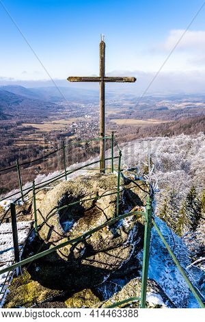 Lookout From Palicnik - Granite Rock Formation With Viewpoint And Summit Wooden Cross In Jizera Moun