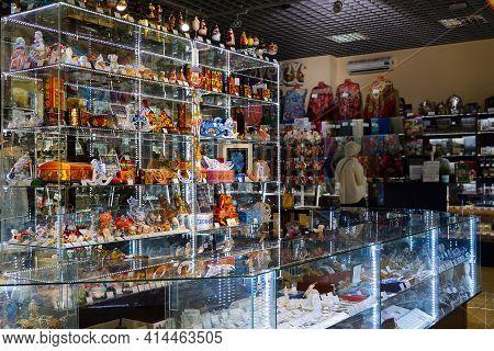 Nizhny Novgorod, Russia - September 13, 2019. The Interior Of The Gift Shop. Glass Showcase And Coun