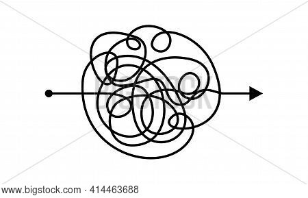 Circle Tangled Line, Complex Knot Rests In Straight Line Isolated Vector Illustration