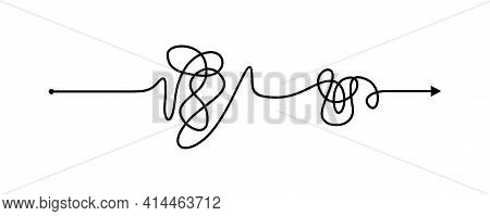 Tangled Line, Complex Knot Rests In Straight Line Isolated Vector Illustration