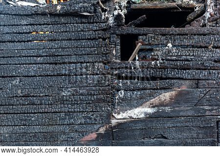 Burned Wooden Plank Background. Details Of Surface Of Charred Wood