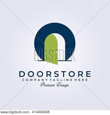 Door Shop, Company, Business, Store Home Made Logo Vector Illustration Design