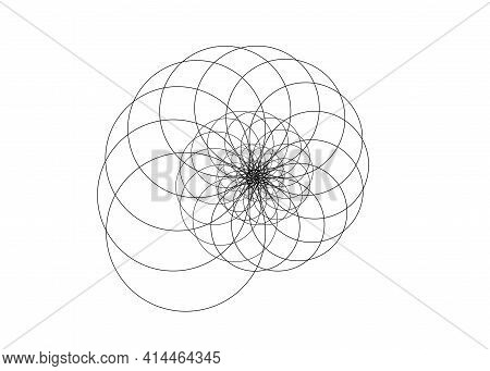 Snail Spiral Logo. Seashell Which Consists Black Circles. Spiral Lines Element Fractal Art, Vector I