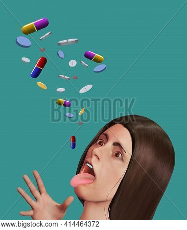 An Attractive Young Woman Has Her Mouth Open To Accept A Large Number Of Pills And Prescription Drug