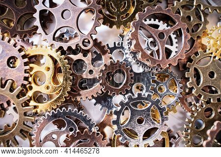 Close Up Of Gear Wheels And Cogs. Future, Gear, Wheel, Metal. Industrial Concept. Love Concept.