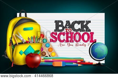 Back To School Vector Banner Design. Back To School Text In Paper Sheet Background With Educational
