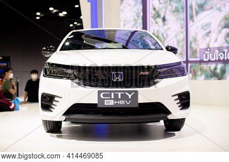 Nonthaburi, Thailand - March 25,2021 : View Of Honda City E:hev (hybrid I-mmd) On Display At Thailan