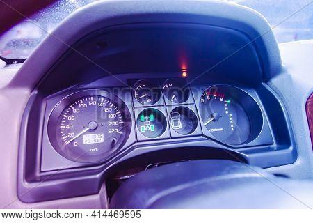 Novosibirsk, Russia - March 26  2021:  Mitsubishi  Pajero,   Close Up Instrument Automobile Panel Wi
