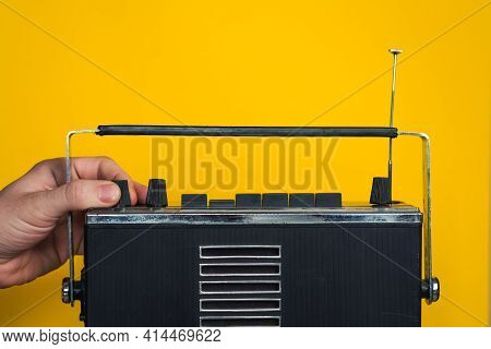 Hands Of People Controls The Volume Balance Of The Old Vintage Radio Turns Adjustment Audio Frequenc