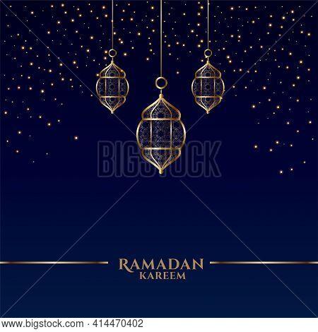 Ramadan Kareem Card With Islamic Hanging Lanterns