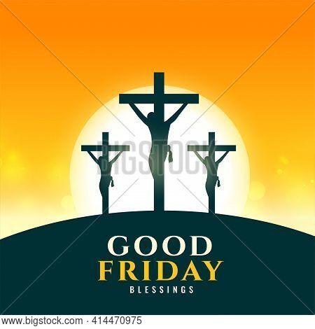 Good Friday Background With Jesus Crucifixion Scene